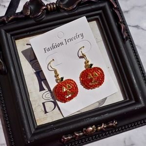 Jack O Lantern Rhinestone Earrings